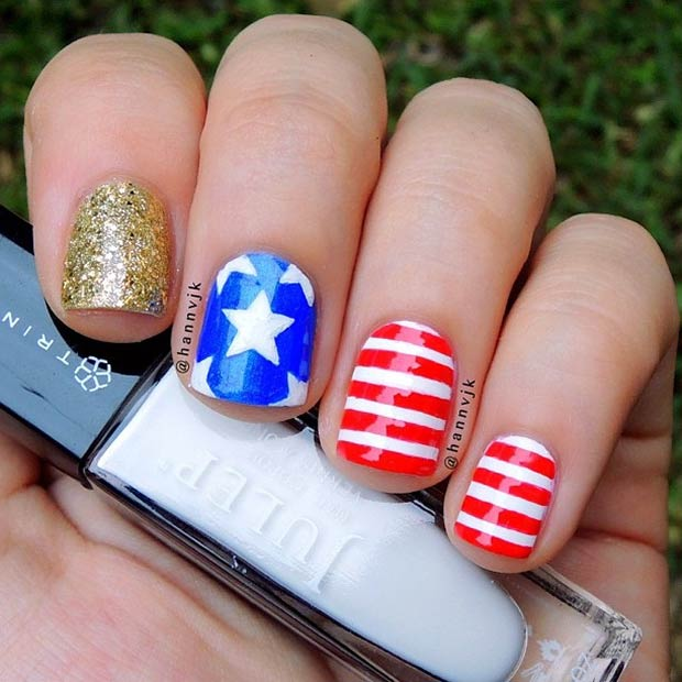 1 American Flag Design for Short Nails