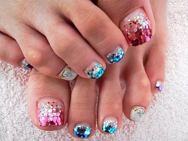 1 Pink and Blue Glitter Design