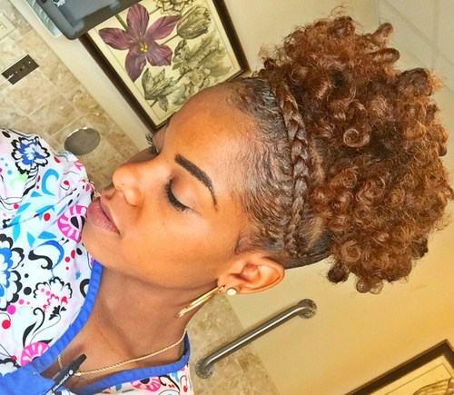 1 curly updo with a crown braid