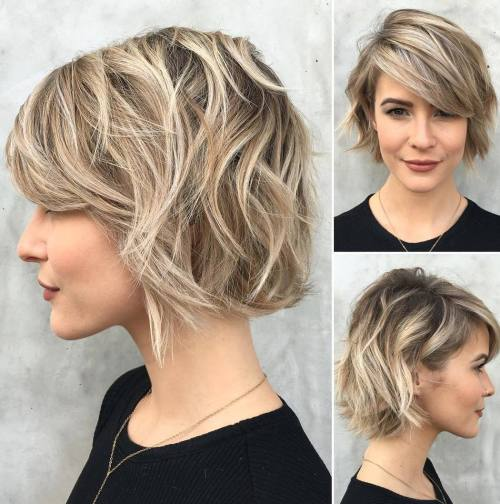 1 short choppy wavy bob with bangs