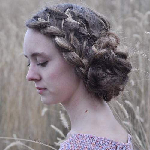 1 side messy bun with two french braids