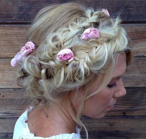 1 two disheveled crown braids updo