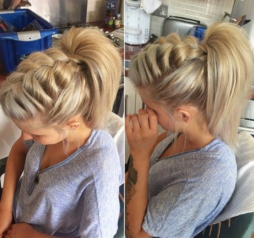 1 voluminous front braid and high ponytail