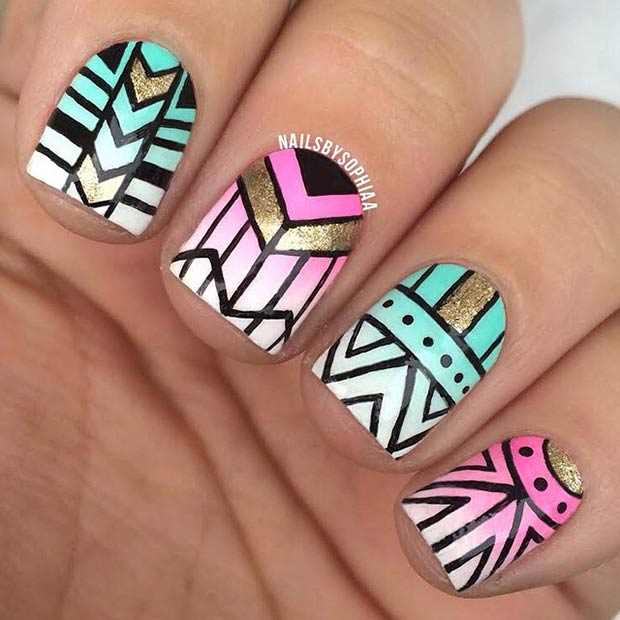 19 Tribal Inspired Nail Art Designs – Page 10 – Foliver blog