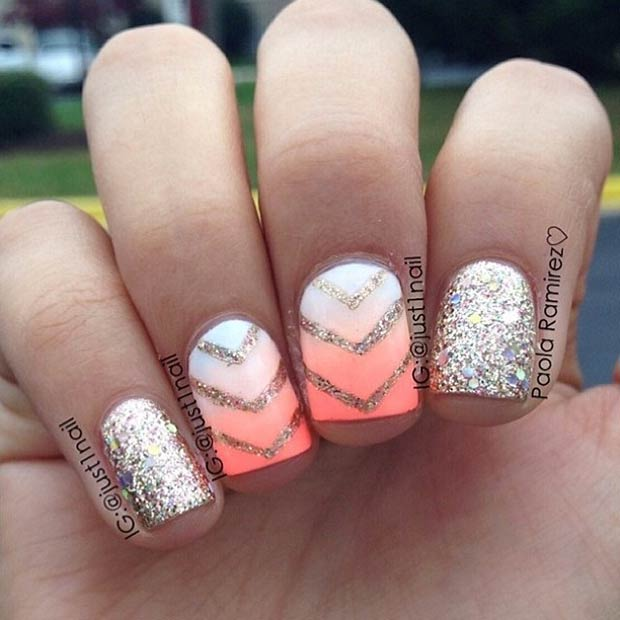 10 Neon Ombre Effect + Gold Glitter
