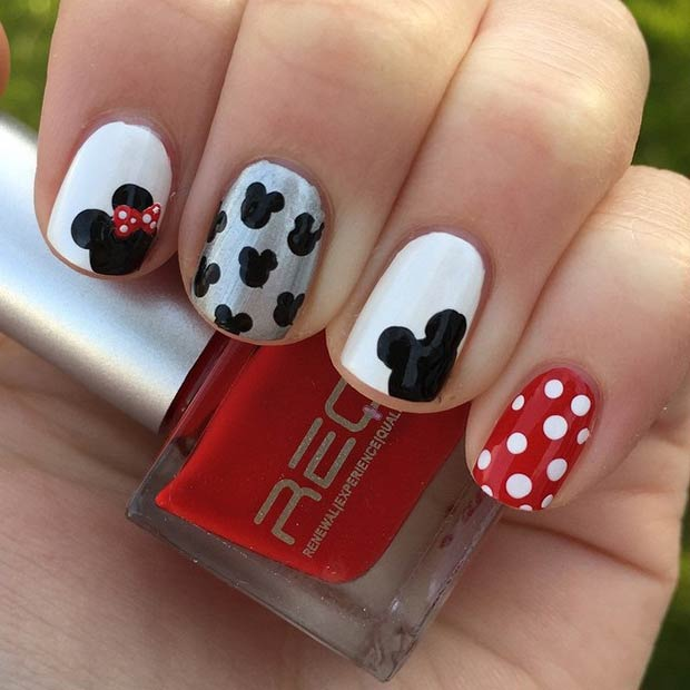 21 super cute disney nail art designs page 10 foliver blog 10 simple mickey minnie design prinsesfo Images