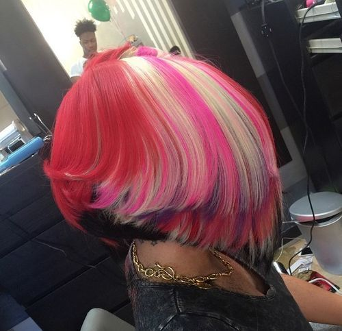 11 black and purple bob with blonde highlights