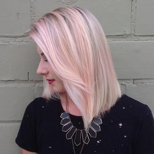12 blonde lob with pastel pink balayage