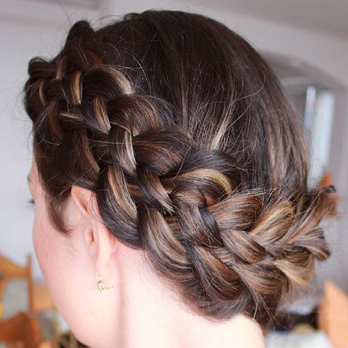 12 crown braid with highlights updo