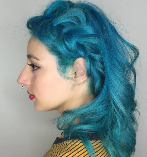12 pastel blue braided hairstyle
