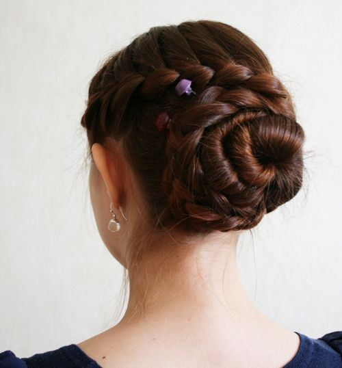 12 twisted braided updo for long hair