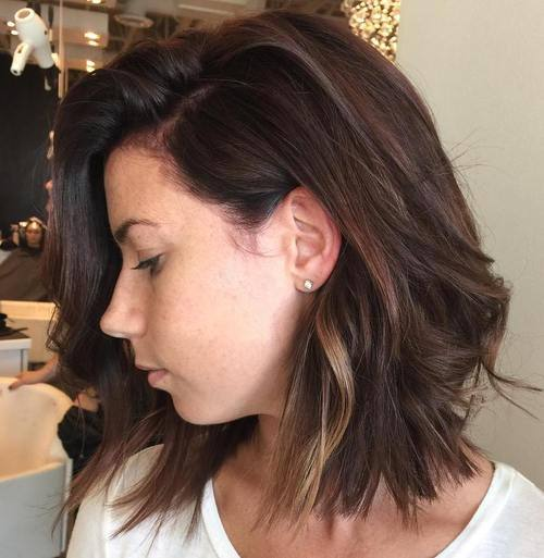 13 brown shaggy bob with subtle highlights