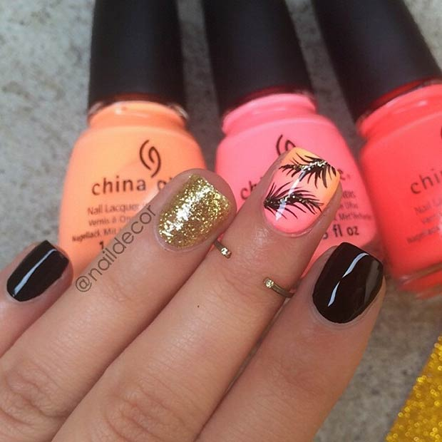 14 Neon, Black and Gold Nails