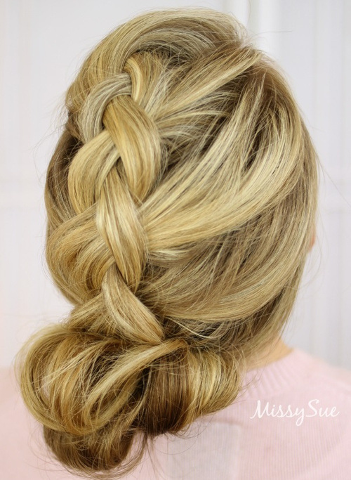 14 dutch braid and double bun formal updo
