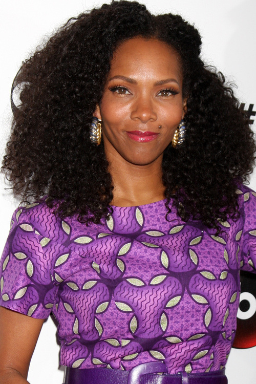 14 parted and asymmetrically pinned black curly hairstyle