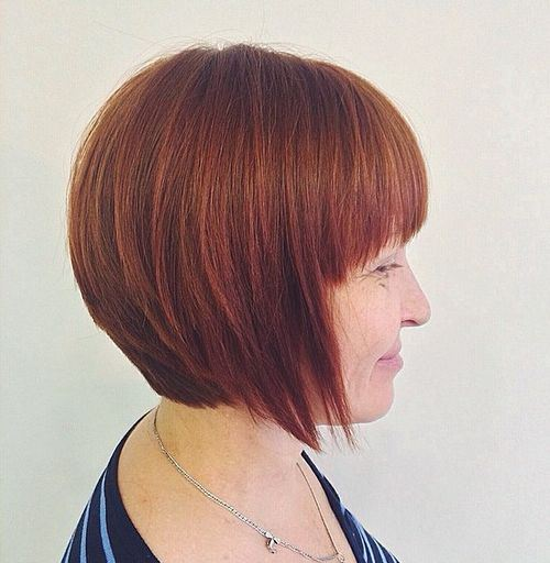 14 red layered bob with bangs