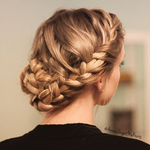 14 updo with a crown braid and braided bun