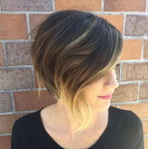 14 wispy asymmetrical brown bob with blonde balayage