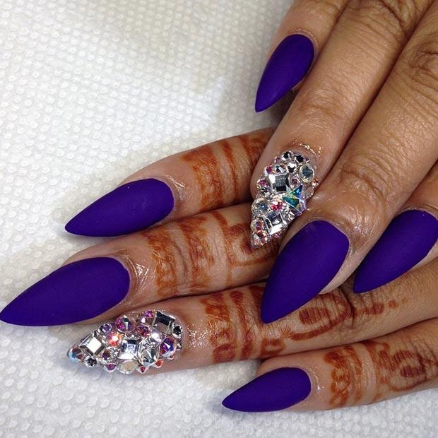 16 Matte Purple + Rhinestones