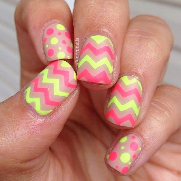 16 Neon Chevron and Polka Dots Nails