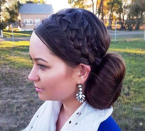 16 headband braids and side bun updo