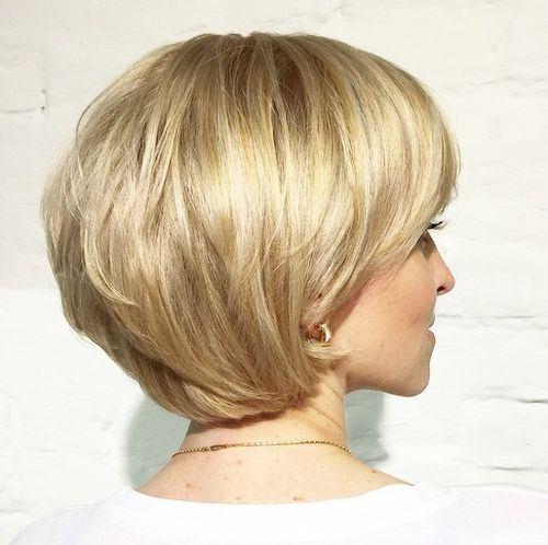 16 short layered golden blonde bob