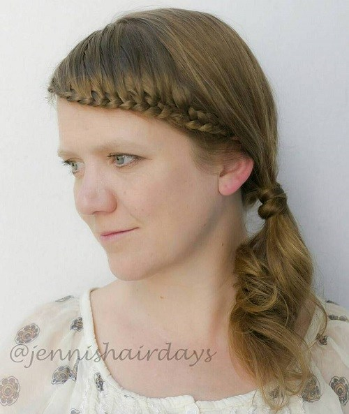 16 side ponytail with braided headband