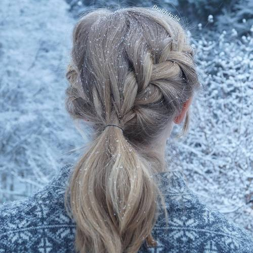 16 simple ponytail with french braids