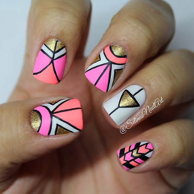 17 Gold and Neon Tribal Nails