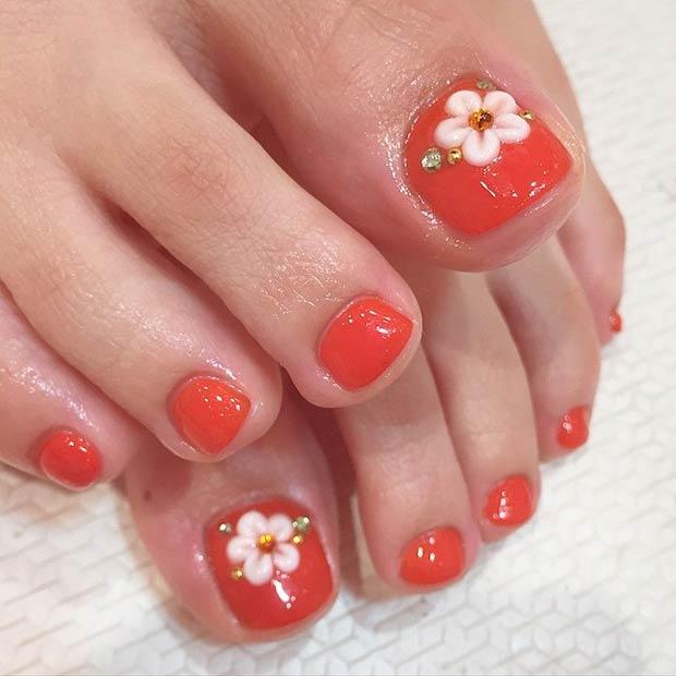 17 Orange Nails + White Flower Design