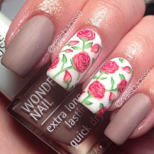 17 Red Roses Matte Nail Design
