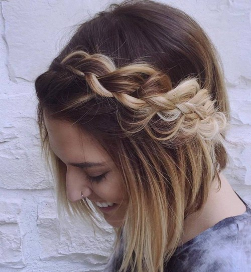 17 ombre bob with a messy braid