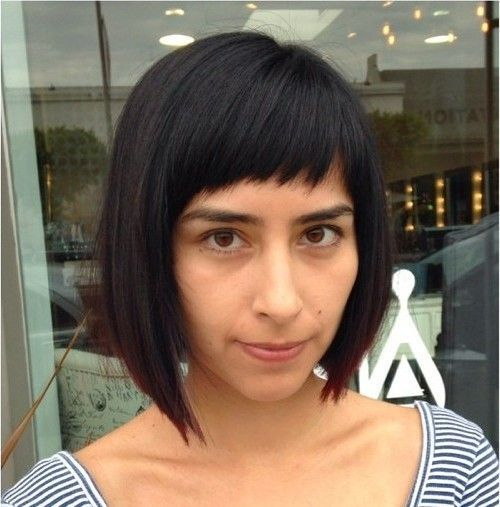 18 asymmetrical angled bob with cropped bangs
