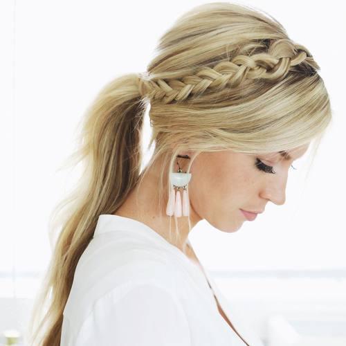 18 headband braid and ponytail hairstyle