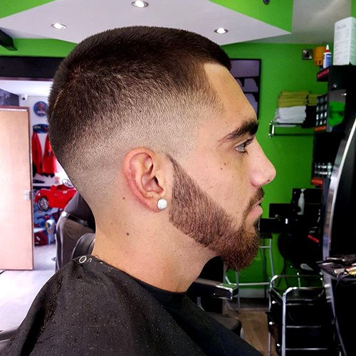 18 short fade haircut with facial hairstyle