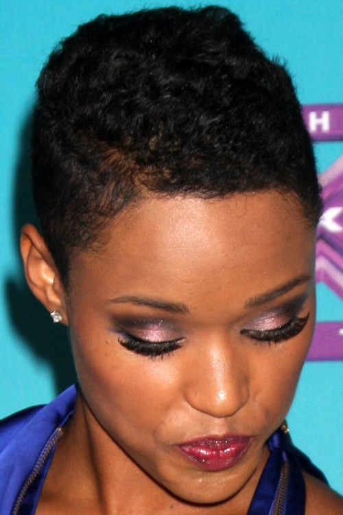 18 very short and very feminine black curly hairstyle