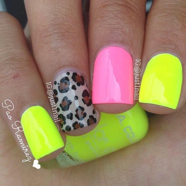 19 Neon Nails + Cheetah Accent Nail