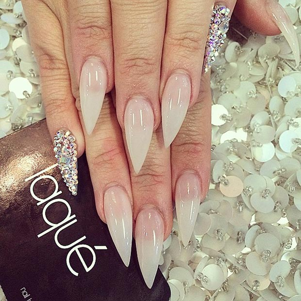 19 Nude + Rhinestone Pinkie Accent Nail