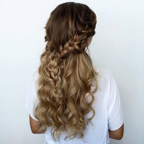 19 curly braided half updo