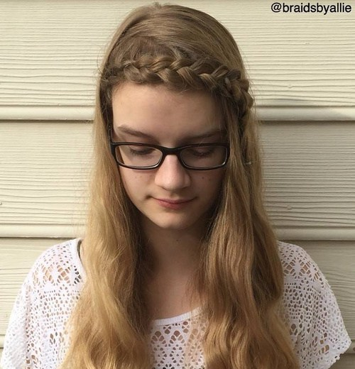 19 long hairstyle with a headband braid