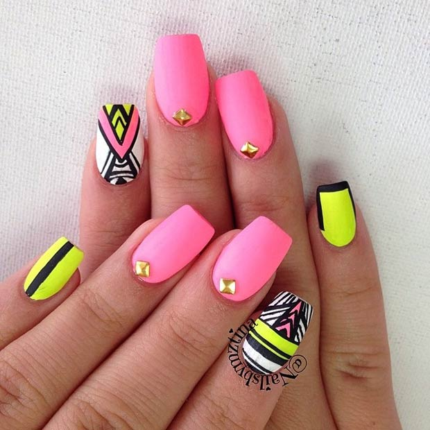 2 Neon, Matte Tribal Nails