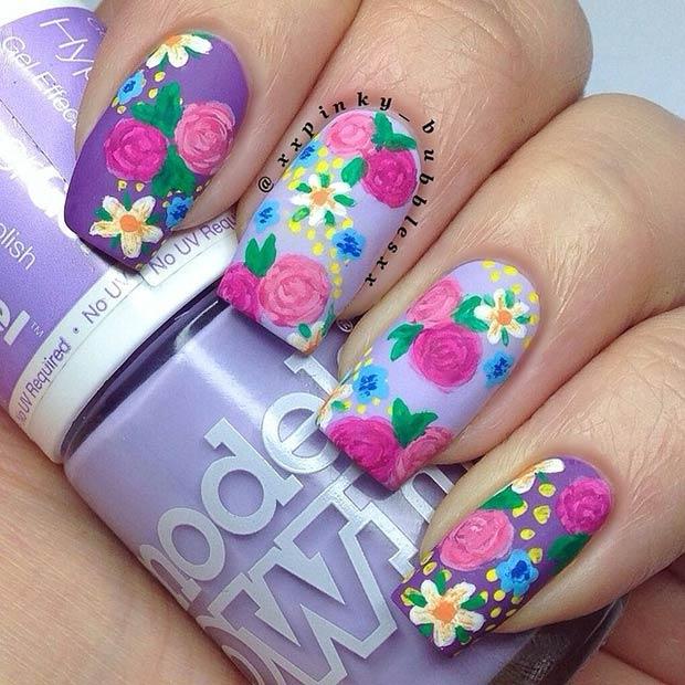 2 Purple Matte Flower Design