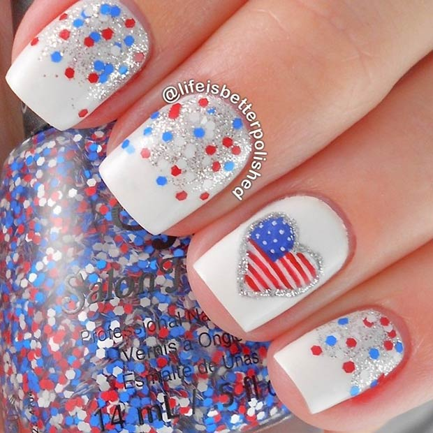 2 Red, White and Blue Nails