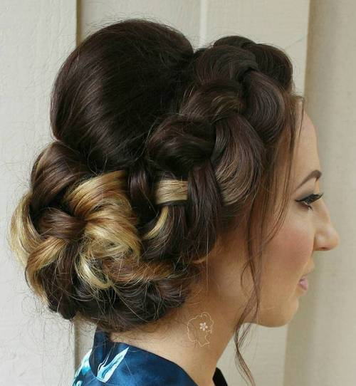 2 crown braid and bun updo with a bouffant