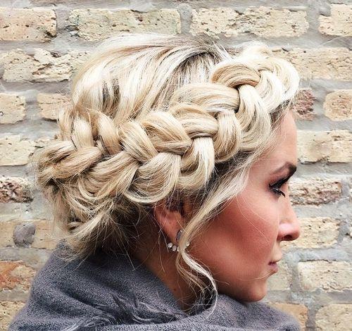 2 messy blonde crown braid updo