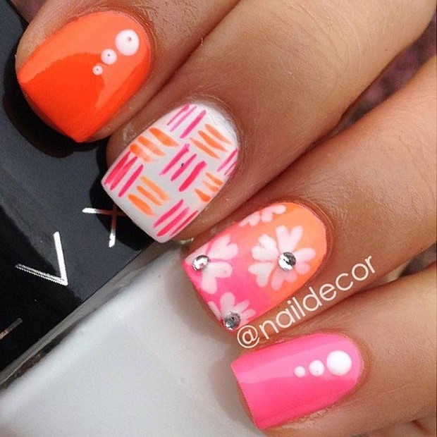 50 flower nail designs for spring page 20 foliver blog 20 neon flower nail design prinsesfo Gallery