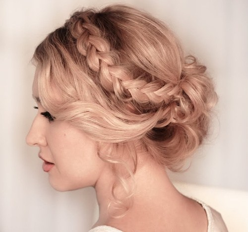 20 braided curly formal updo