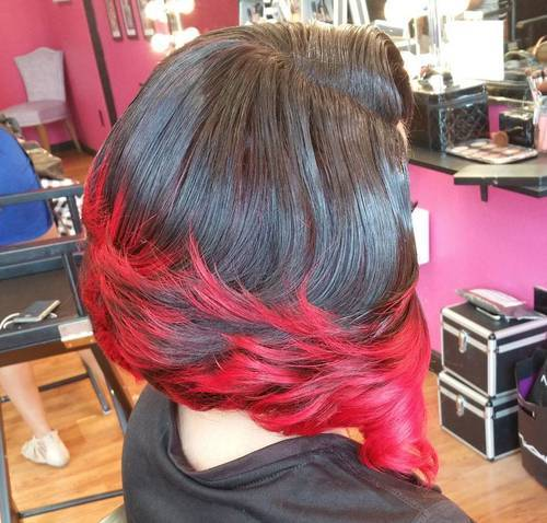 20 long black bob with red ends