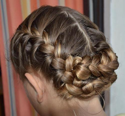 20 simple updo with 2 french braids
