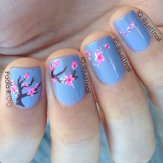 21 Blue Nails + Cherry Blossom